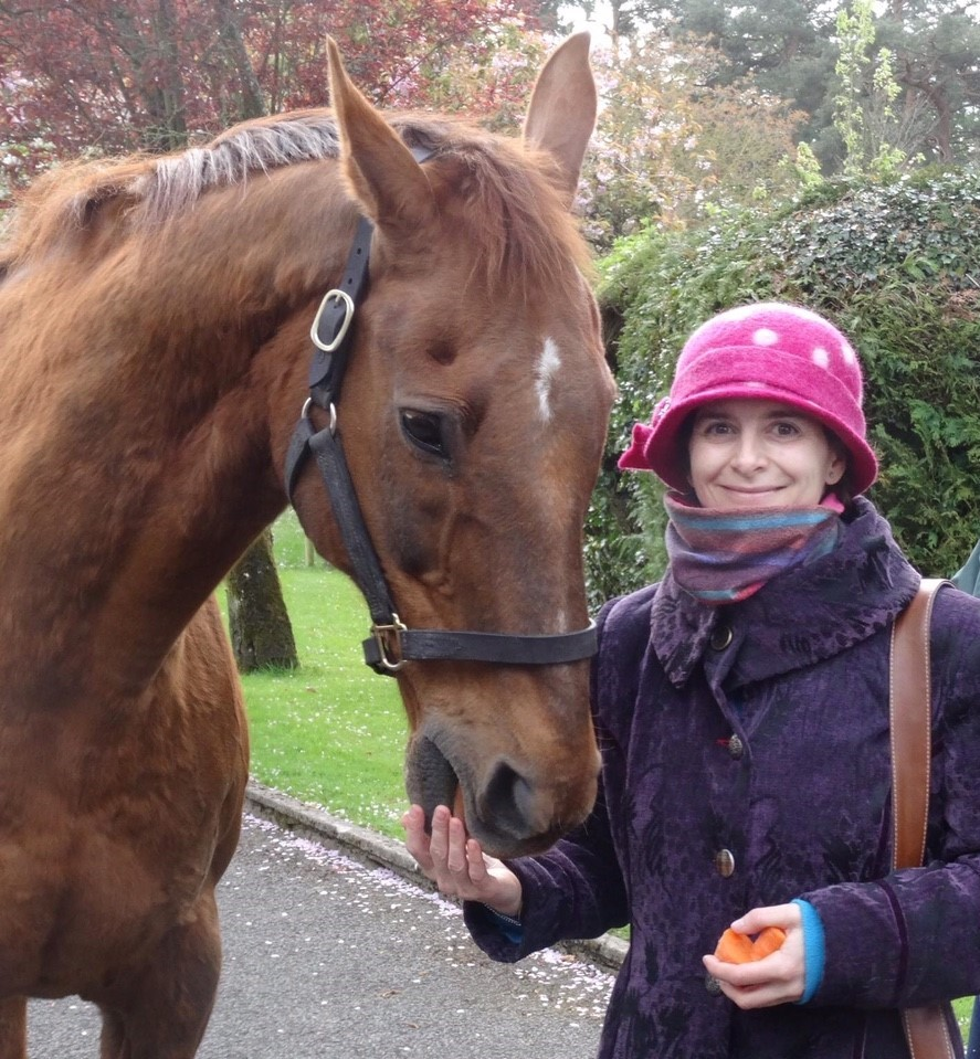 chestnut horse (racehorse beef or Salmon) with woman in pink hat