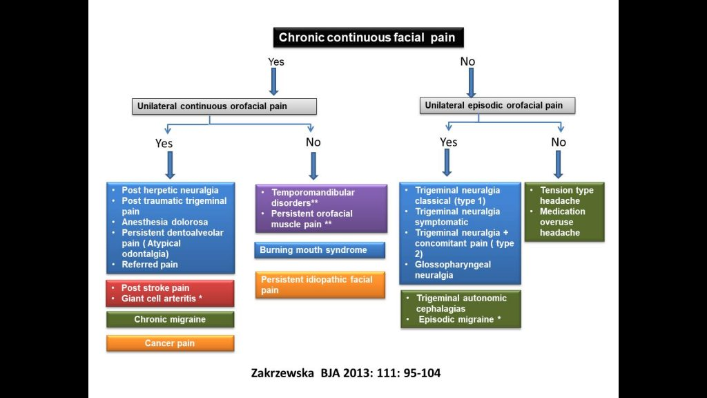 Diagram of facial pain types please email for an accessible version