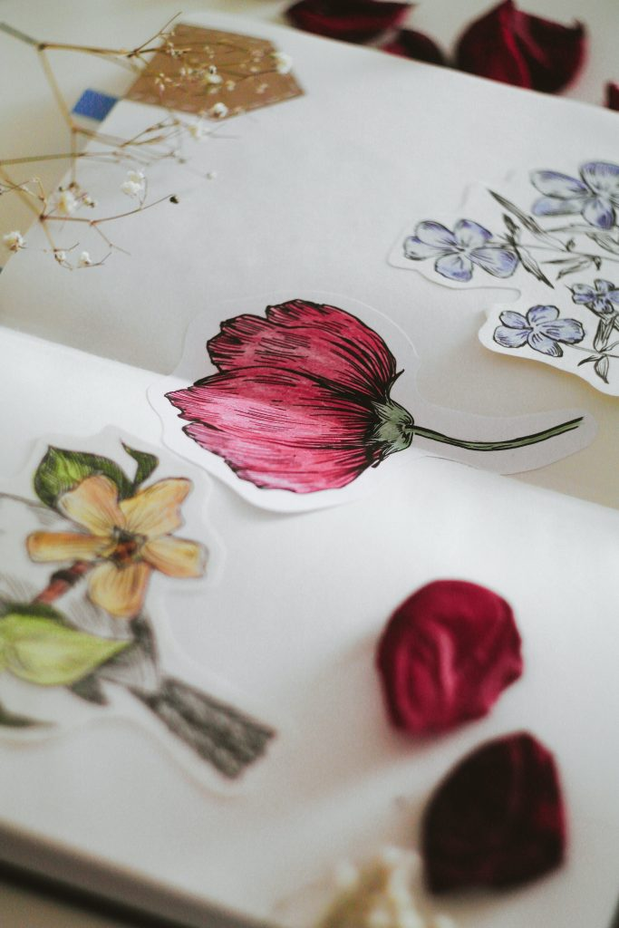 scrap book with flowers