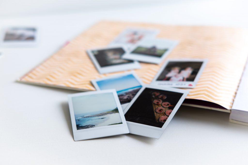 photos on a scrapbook